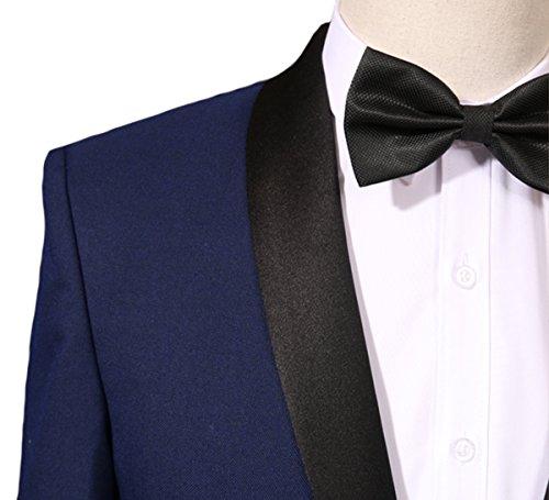 Herren 2-Teilig Anzüge Smoking Tuxedo Sakko und Hose von YOUTHUP Blau