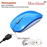 Marshland Wireless Mouse Rechargeable With USB Receiver In-build Li-ion Battery One Month Battery Backup Noiseless Silent Click Work With 800 1200 1600 DPI 8-10 Meter Range Mini Home Office Portable Mouse For PC And Laptop (Blue Colour)