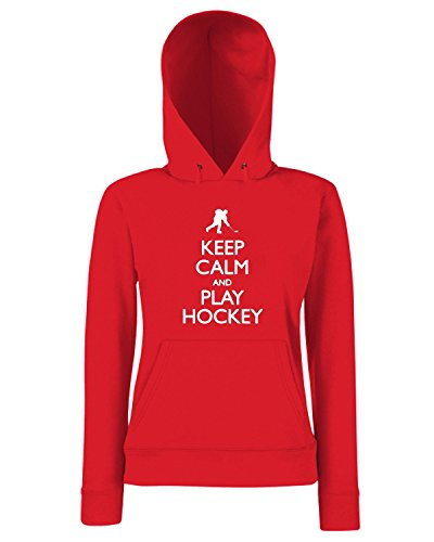 T-Shirtshock - Sweats a capuche Femme SP0097 Keep Calm and Play Hockey Maglietta Rouge