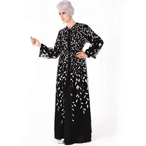 SuperSU Damen Spitze Muslimische Ramadan Luxus Pailletten Stickerei Maxikleid, Islamische Gebetskleidung Mittlerer Osten Saudi Arabisch Ethnische Kleidung Lange Ärmel Kittel