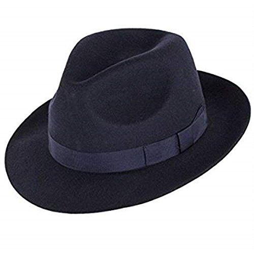 Chapeau Mou Hommes Superb qualité 100% laine. Parfait pour les courses. De luxe Bordée. Confortable intérieur bandeau absorbant. unisexe. Noir, Marron ou Marine Tailles S-XXXL Bleu Marine