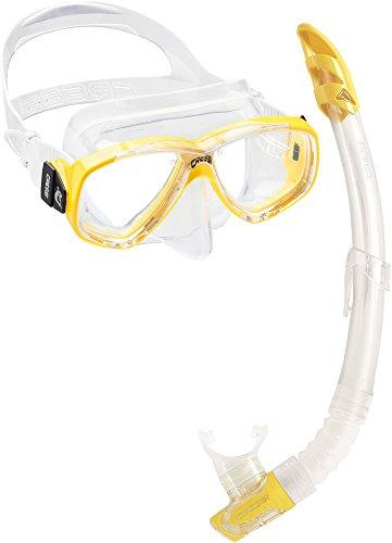 Cressi Perla und Gamma Snorkeling Combo Set, Klar/Gelb, Uni
