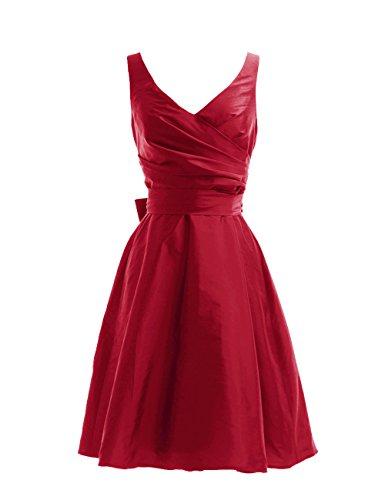 Dressystar Robe de demoiselle d'honneur/de soirée courte, à Col en V, Sans Manches, avec une Ceinture, en Taffetas Rouge Foncé