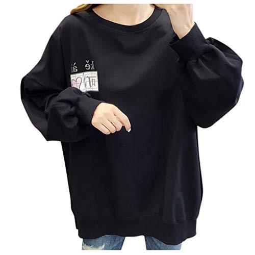 MRULIC Damen Freizeit Sweatshirt Lose Tunika Gestrickte Süße Langarm Pullover Top Bluse mit Kapuzenpullis