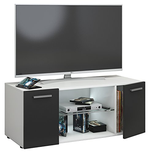 VCM Lowina 95 Meuble TV, Bois, Blanc/Noir, 40 x 95 x 36 cm