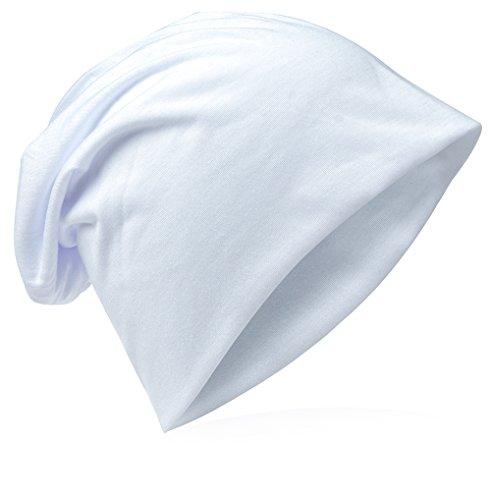 Miobo Beanie-Unifarbe-Weiss (Glatze-mütze)