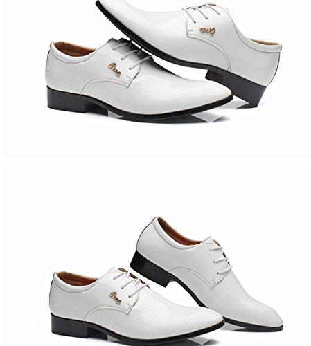 Gaorui Herren Schnürhalbschuhe Hochzeitschuhe Business Schuhe aus kunstleder 4 Farben Weiß