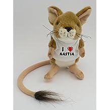 Personalisierte Springmaus Plüsch Spielzeug mit T-shirt mit Aufschrift Ich liebe Nastia (Vorname/Zuname/Spitzname)