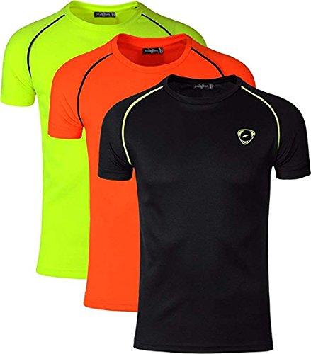 Jeansian Men's 3 Packs Sport Slim Quick Dry Short Sleeves Compression T-Shirt Tee LSL182