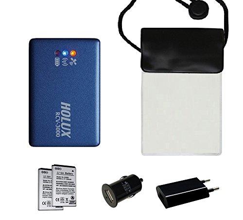 HOLUX RCV-3000 (neue Version) Bluetooth GNSS (GPS/ GLONASS) Logger MT3333 Chipsatz - Set4 mit wasserfster Tasche, 2 Akkus, Netzteil, KFZ-Adapter