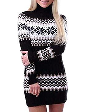 BOLAWOO Jersey Cuello Alto Mujer Otoño Invierno Pullover Elegantes Suave Mode De Marca Cómodo Pullover Punto Impresión...