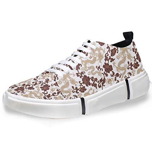 LUPINZ Skateboard-Sneaker mit chinesischem Drachen- und Blumenmuster, für Herren, 1 - Größe: 42 EU