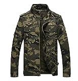 LaoZanA Hombre Chaqueta Camuflaje Abrigo Cazadora Militar Casual Multi-Bolsillo Slim Fit Verde del ejército 3XL