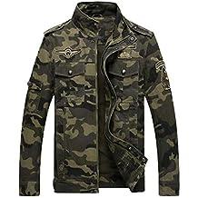 c7527de0683 LaoZanA Hombre Chaqueta Camuflaje Abrigo Cazadora Militar Casual  Multi-Bolsillo Slim Fit Verde del ejército