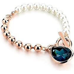 Hot And Bold White Pearl & Blue Austrian Crystal Bracelet For Girls / Women. Party Wear & Daily Wear Fashion Jewellery.