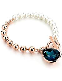 HOT AND BOLD Blue Pearl & Blue Austrian Crystal Charm Bracelet for Women
