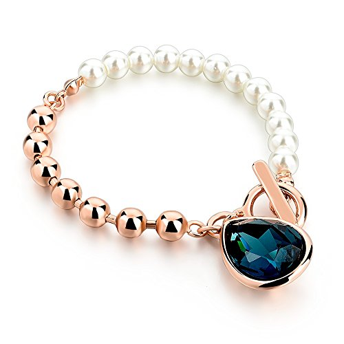 HOT AND BOLD Blue Pearl & Blue Austrian Crystal Charm Bracelet for...