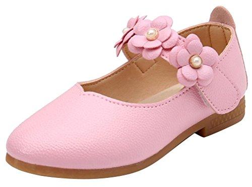 SMITHROAD Blumenmädchen Schuhe Prinzessin Schuhe Mary Jane Halbschuhe Casual Hochzeit Ballerinas Rosa Gr. 29