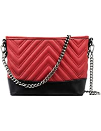 CRAZYCHIC - Women s Chain Crossbody Bag - Quilted Shoulder Handbag Chevron  Pattern - Small Evening Clutch Genuine Leather Style… eafb9bc19d3f0