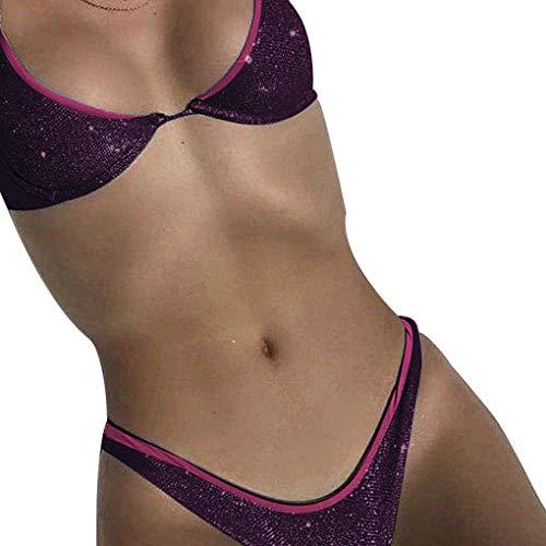 LafyHo Frauen Zwei Stücke Shiny Bikini verstellbare Träger gepolsterter BH Panty Badeanzug Damen Bademode (Panty Gepolsterte)