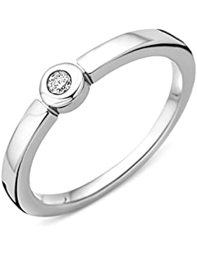 Miore Damen-Ring Verlobung Solitär 925 Silber rhodiniert Diamant (0.05 ct) weiß Rundschliff - MSAE087DR50