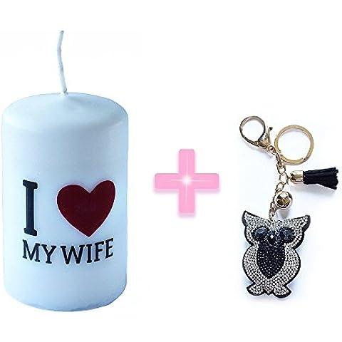 I Love My Wife Regalo tamaño de la vela 6cm x 10cm + El color negro del Rhinestone búho regalo de la cadena del Keyring del anillo del encanto colgante de cristal del monedero del bolso clave