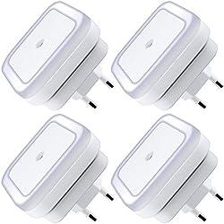 La lámpara de luz de noche LED con Smart Auto ON/OFF Sensor Set de 4, tierra 0.5W plug-in de pared LED lámpara de noche para dormitorio, baño, pasillo, escaleras o cualquier cuarto oscuro Brillo suave. (Blanco)
