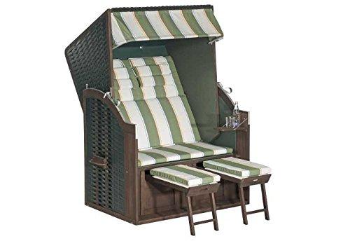 Sunny Smart Strandkorb Rustikal 25 Z Stoff-Nr. 1202, Halbliegemodell Außenmaß (B x T): 120 x 80 cm Gesamthöhe: 160 cm Geflecht: Kunststoffgeflecht grün Ausführung: Halbliegemodell Stoff: Nr. 1206, anthrazit/weiß gestreift