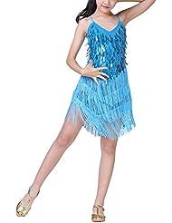 Hougood Enfant Filles Danse Latin Robe Sequins Frange Standard Prom Wear Rhythm Salsa Cha Cha Tassel Tango Vêtements de Danse