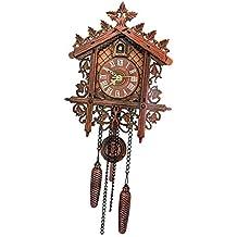 FLAMEER Reloj Pared Colgante con Movimiento Reloj de Cuco Madera Tiempo Puntal Oficina Adornos - 2