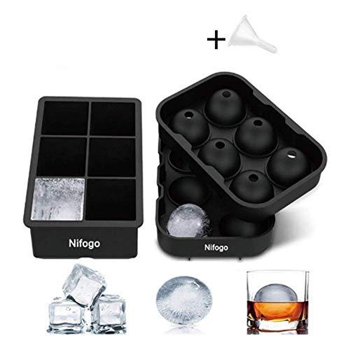 Nifogo Eiswürfelform Silikon mit Deckel, Eiswürfelform Kugel und Große Würfel für Kinder Pudding Milch Saft, für Erwachsene Bier Cocktails Whisky -