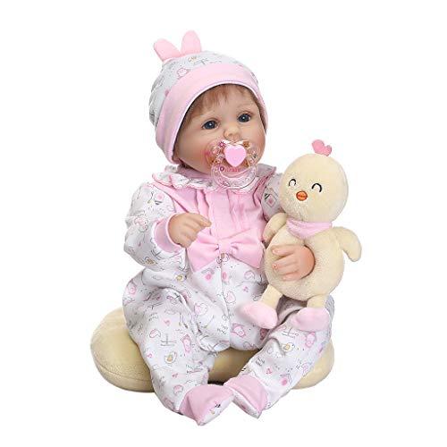 WDTong16 Zoll Silikon Lebensechte Puppe Weiß Onesies Hut Gelb Küken Kissen Stirnband Frühen Kindheit Kinder Baby Spielzeug (Weiße Und Gelbe Baby-stirnband)