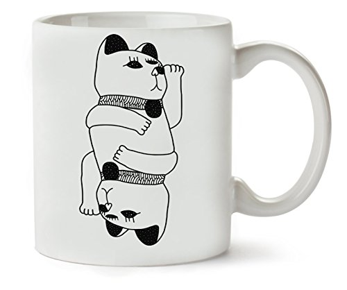Japanese Culture Cute Cat Black Monochrome Art Design Tasse classique de thé Tasse de café