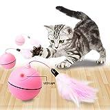 Wanfei Interaktive katzenspielzeug ball, automatische selbst rotierende USB geladen Licht Haustier Spielzeug, Haustiere Katzen Chaser Ball, wiederaufladbare Spielzeug mit abnehmbaren Feder