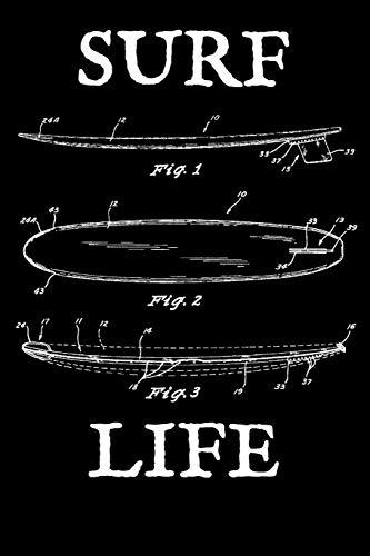 Surf Life: Journal - Vintage Surfboard Blueprint Surfer Log (Blank Lined Notebook)