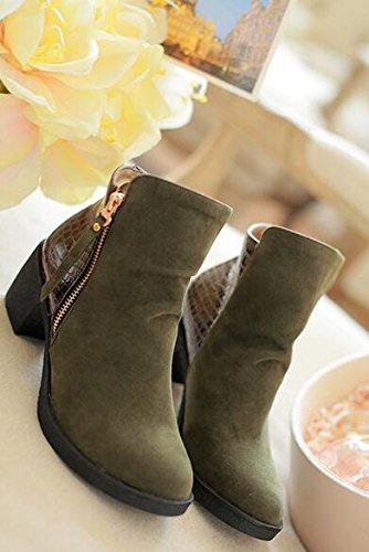 Herbst und Winter Damen Schuh Stiefel mit hohen Absätzen Armee-Grün