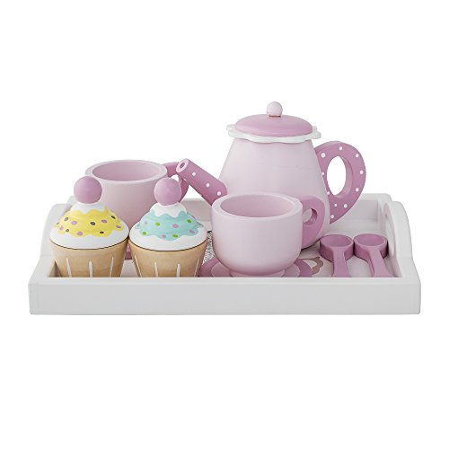 Süßes Teeservice in rosa für Kinder aus Lotus Holz 8tlg mit Teekanne, Tassen, Löffel, Cupcakes,...