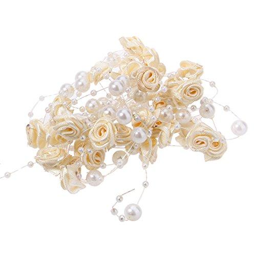 Fjiujin,Mehrfarbige 5m Angelschnur Perle DIY Stoffkunst Rose Hochzeit Dekoration Handwerk(Color:BEIGE)