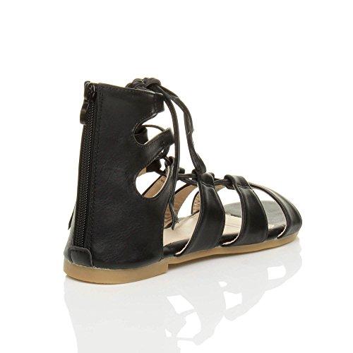 Ajvani Donna piatto allacciare arrotolare cinturino infradito gladiatore sandali numero Nero opaco