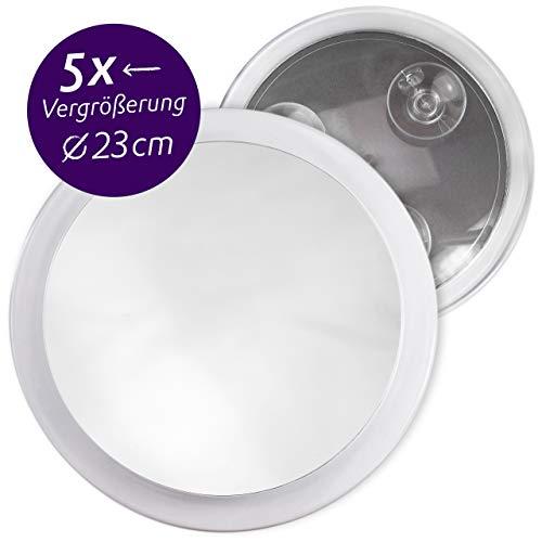 egel mit 5-fach Vergrößerung, Großer Schminkspiegel Ø 23cm rund mit Saugnapf, Acryl Make-Up-Spiegel für zuhause und unterwegs, Innen Ø 19,5 cm ()