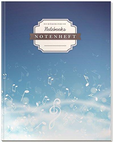 DÉKOKIND Notenheft | DIN A4, 64 Seiten, 12 Notensysteme pro Seite, Inhaltsverzeichnis, Vintage Softcover | Dickes Notenbuch | Motiv: Musiknotenspiel