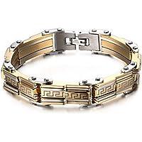 Vnox in acciaio inossidabile lucidato placcato oro chiave greco strutturato braccialetto di collegamento,lunghezza 216 millimetri - Argento Strutturato Perle