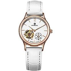 STARKING Women's AL0213RL11 Automatic Mechanical Skeleton Watch with White Geneva Leather Band