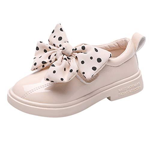 Neu Kleinkind Infant Britischen Stil Kleine Pu-Schuhe, Kinder Baby MäDchen Polka Dot Bogen Lackleder Schuhe GrößE Pailletten Fashion Single Schuhe Prinzessin Schuhe (Schwarz, Weiß) 26.5-34.5 EU