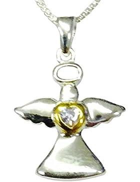 Sterling Silber & Vergoldet Kindes Geburtsstein Schutzengel Geburtsstein Halskette–Set mit einem Lavendel Zirkonia...