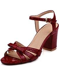 SHOWHOW Damen Nubukleder Sexy Peep Toe Plateau Blockabsatz Sandale mit Schnalle