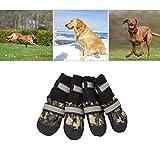 VICTORIE Hundeschuhe Pfotenschutz Regenschutz Hundestiefel wasserdicht für Haustier mittlere und große Hunde 4 Stücke Tarnfarbe XL