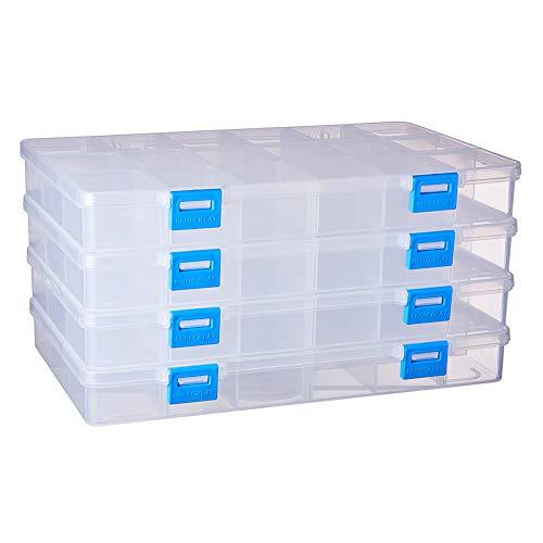 BENECREAT 4 Pack 18 Compartimientos Caja Organizadora de Joyas con Separadores, Contenedor para Guardar Cuentas de Plástico Transparente y Ajustable
