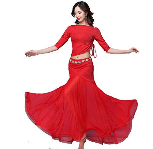 Kleider Cocktail,BauchtanzkostüM, Big Swing Rock Performance Set Bollywood TäNzerin Erwachsene KostüM Rot (Jasmin Kostüm Rot)