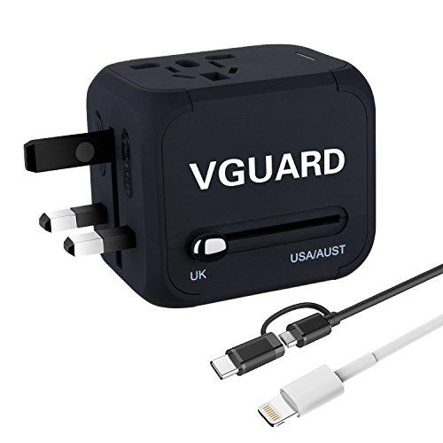 [Garantie à Vie] Voyage Adaptateur International avec Fusible de Sécurité et 2 USB (5V 2.4A) VGUARD Adapteur Chargeur USB Convertisseur pour US UK AUS EU Environ 150 Pays Universel Prise de Courant Tout en un Multi-Nation Multi-prise daptateur et Chargeur [Incluant un Câble Lightning (1m) & 2 en 1 Câble Micro USB & Type C (1m)] - Noir